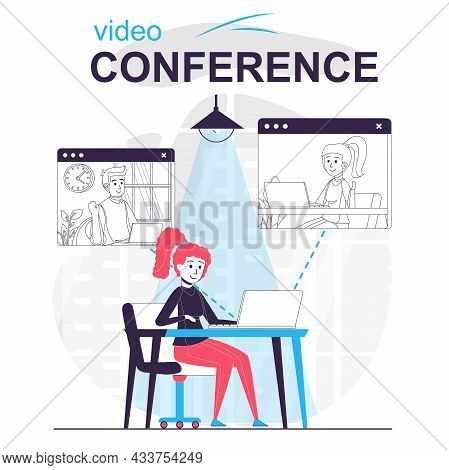 Video Conference Isolated Cartoon Concept. Woman Talking To Friends On Video Call By Laptop, People