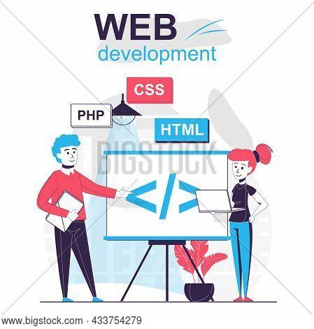 Web Development Isolated Cartoon Concept. Developer Team Creates Code And Optimizes Site, People Sce
