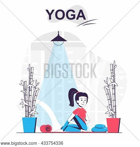 Yoga Training Isolated Cartoon Concept. Woman Practicing Asana, Doing Stretching Exercises, People S
