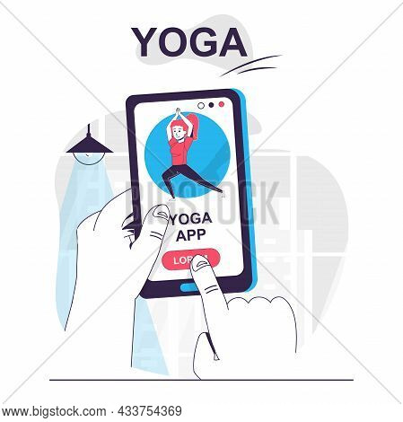 Yoga Training Isolated Cartoon Concept. Sports Exercises With Yoga Asanas In Mobile App, People Scen