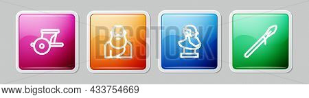 Set Line Ancient Chariot, Socrates, Bust Sculpture And Medieval Spear. Colorful Square Button. Vecto