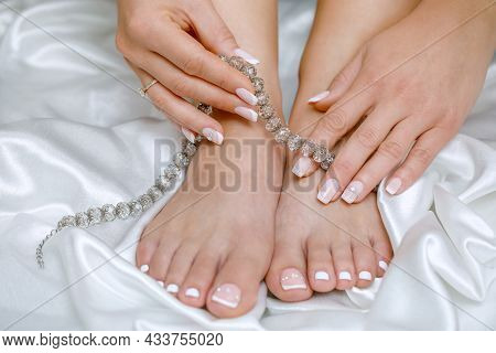 Beautiful French Pedicure And Manicure In Pink And White With Rhinestones For The Bride. Toes And Ha