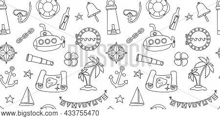 Nautical Style Seamless Wallpaper With Hand Drawn Elements In Line Art Style