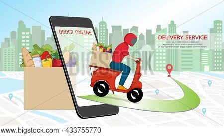 Online Order Grocery Shopping On Touch Screen Mobile Phone Concept. Delivery Man Courier In Red Unif