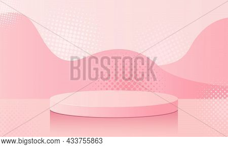 Pink Podium With Powdery Platform And Reflection. Demonstration Of An Advertising Product. Studio Ba