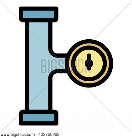 Manometer Pipe Stage Icon. Outline Manometer Pipe Stage Vector Icon Color Flat Isolated
