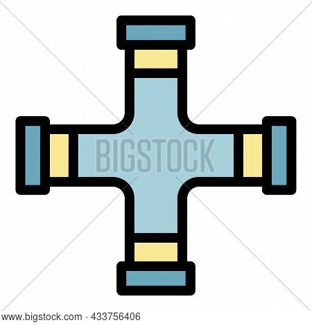 Cross Pipe Icon. Outline Cross Pipe Vector Icon Color Flat Isolated