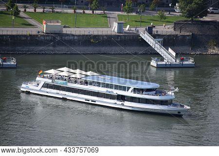 Koblenz, Germany - 09 06 2021: Ship Leaving Old Town