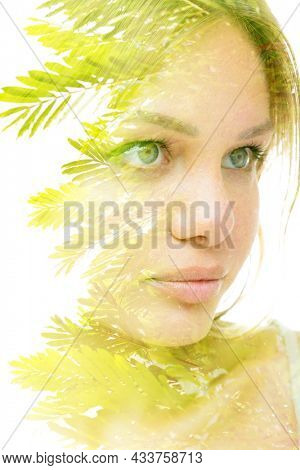 Young blond woman. Three quarters portrait
