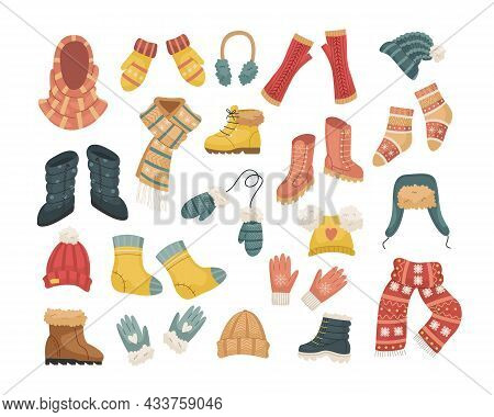 A Set Of Vector Illustrations Of Winter Hats. Hat, Snood, Headphones, Gloves, Mittens, Blowjobs.