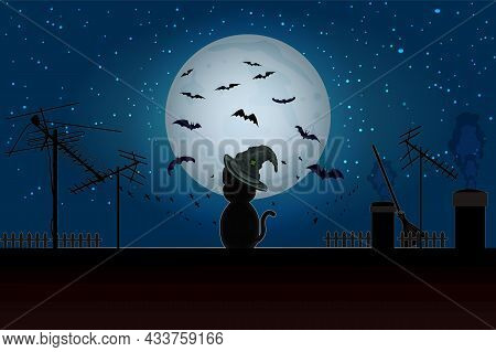 Halloween Cat Sitting On Roof In Full Moon. Black Cat On  House Roof With Moonlight And Starry Night