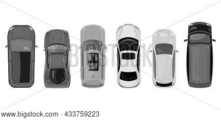 Cars Top View Isolated On White Background. City Vehicle Transport Icons Collection. Urban Traffic,
