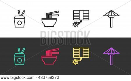 Set Line Noodles In Box And Chopsticks, Asian Noodles Bowl, Firework And Japanese Umbrella From The