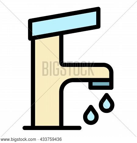 Water Tap Icon. Outline Water Tap Vector Icon Color Flat Isolated