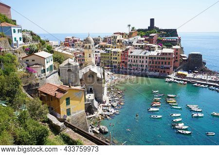 Aerial View Of Vernazza Village On Summer In The Cinque Terre, Liguria, Italy