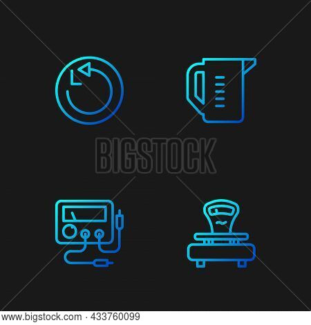 Set Line Scales, Multimeter, Voltmeter, Radius And Measuring Cup. Gradient Color Icons. Vector
