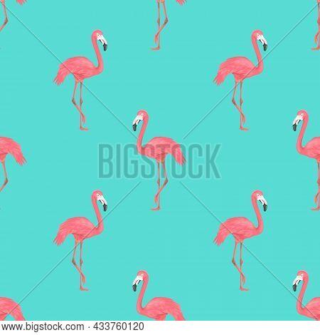 Seamless Flamingo Bird On Blue Pattern. Repeated Tropical Animal Background. Flat Vector Illustratio