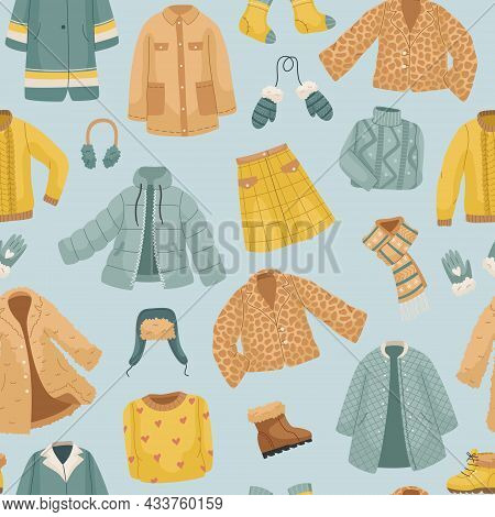 The Seamless Pattern With Winter Clothes. Coats, The Vector Set Of Winter Clothes. Coats, Hats, Glov