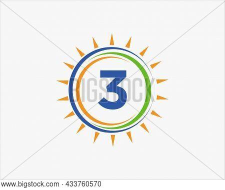 Sun Solar Energy Logo On Letter 3 Template. 3 Letter Solar Logo Design. Solar Panel Farm Electric Fa