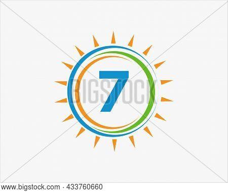 Sun Solar Energy Logo On Letter 7 Template. 7 Letter Solar Logo Design. Solar Panel Farm Electric Fa