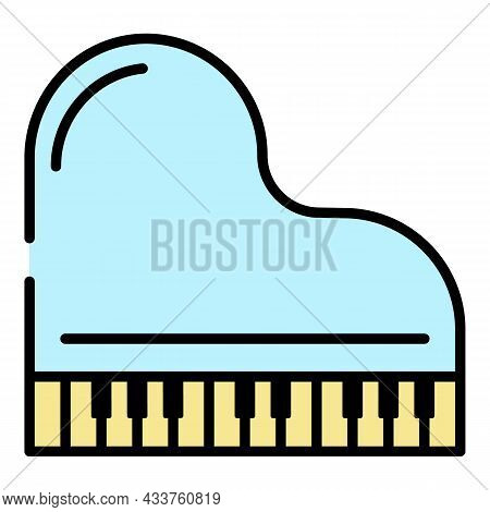 Top View Grand Piano Icon. Outline Top View Grand Piano Vector Icon Color Flat Isolated