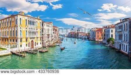 Grand Canal Of Venice, View Of The Lagoon Near Santa Maria Della Salute, Italy.