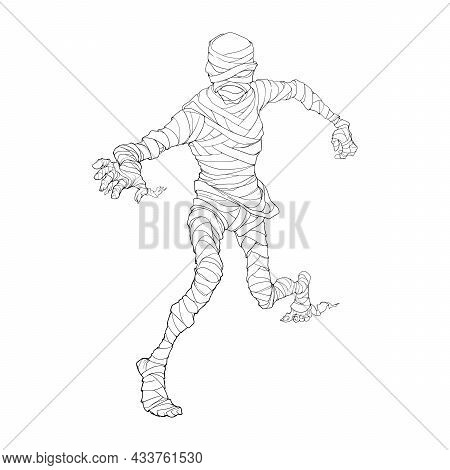 Egyptian Pharaoh Mummy Crawling And Reaching Out. Halloween Character Design. Black And White Line D