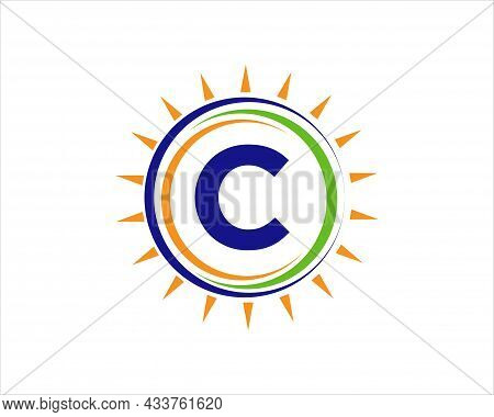 Sun Solar Energy Logo On Letter C Template. C Letter Solar Logo Design. Solar Panel Farm Electric Fa