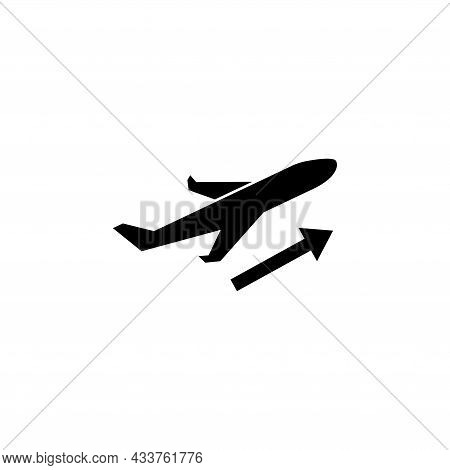 Plane Departure, Airplane Flight Takeoff. Flat Vector Icon Illustration. Simple Black Symbol On Whit
