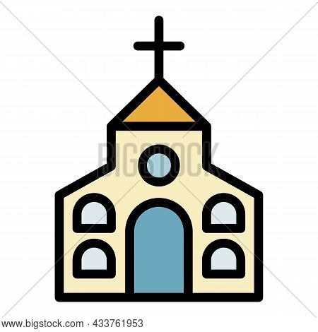 Religion Church Icon. Outline Religion Church Vector Icon Color Flat Isolated