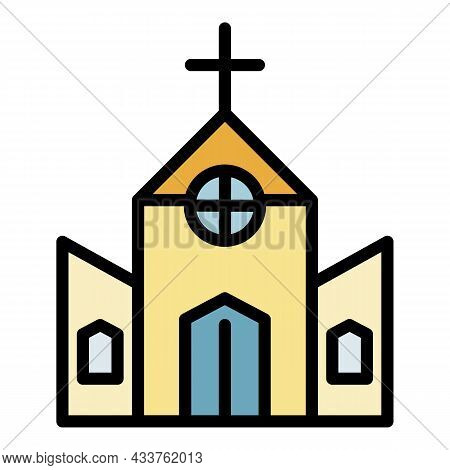 Old Catholic Church Icon. Outline Old Catholic Church Vector Icon Color Flat Isolated