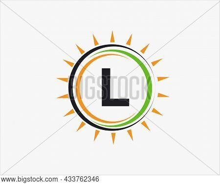 Sun Solar Energy Logo On Letter L Template. L Letter Solar Logo Design. Solar Panel Farm Electric Fa