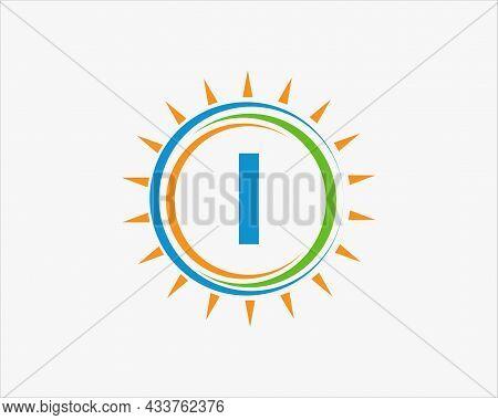Sun Solar Energy Logo On Letter I Template. I Letter Solar Logo Design. Solar Panel Farm Electric Fa