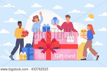 Happy Male And Female Customers Are Getting A Gift Card With Blue Sky On The Background. People Enjo