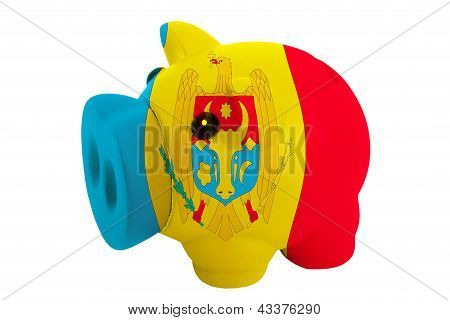 Piggy Rich Bank In Colors  National Flag Of Moldova    For Saving Money