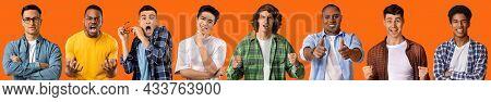 Multiethnic Millennial Guys Gesturing And Grimacing On Orange, Collage