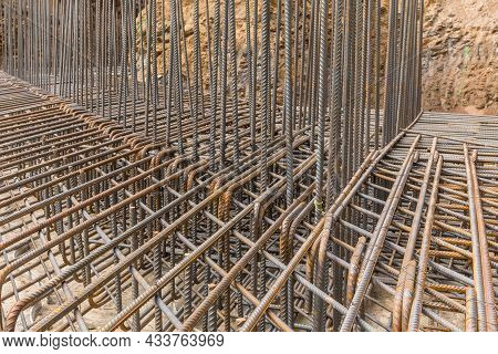 Iron Or Concrete Reinforcement For Building Foundation Construction. Iron Wire For Use Base Structur