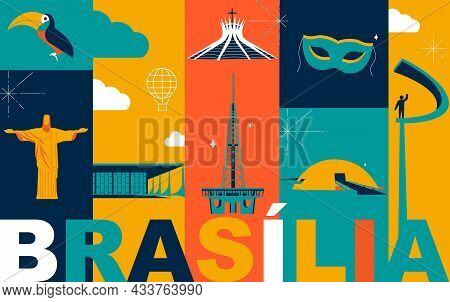 Brasilia Culture Travel Set, Famous Architectures And Specialties In Flat Design. Business Brazilian