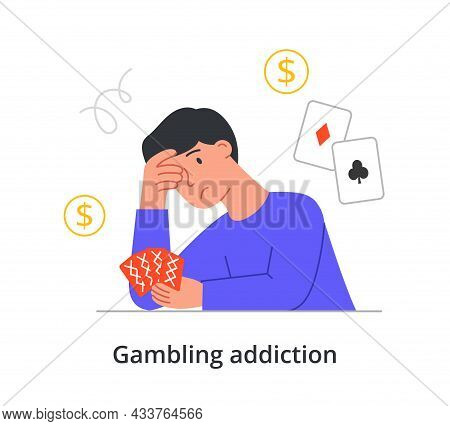 Tired Unhappy Male Character Is Suffering From Gambling Addiction On White Background. Concept Of Ch