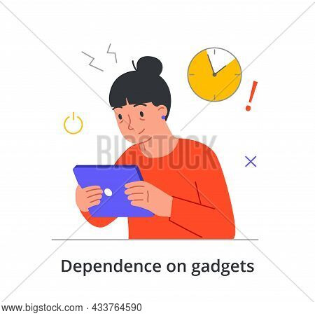 Sleepless Female Character Is Suffering From Gadget Dependence On White Background. Concept Of Peopl