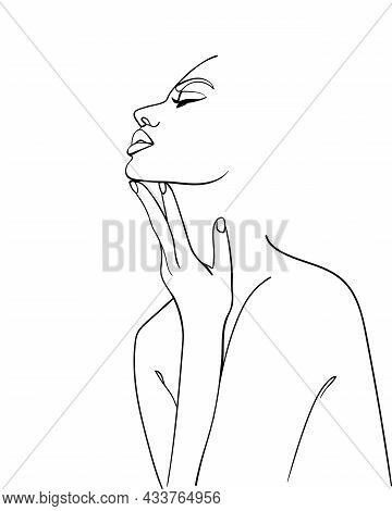 One Line Drawing Woman.  Modern Minimalism Art. - Vector Illustration