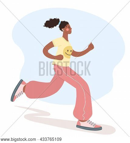 Beautiful Young African-american Woman Is Engaged In Sports. Illustration Of Girl Jogging. Concept O