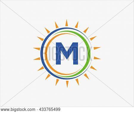 Sun Solar Energy Logo On Letter M Template. M Letter Solar Logo Design. Solar Panel Farm Electric Fa
