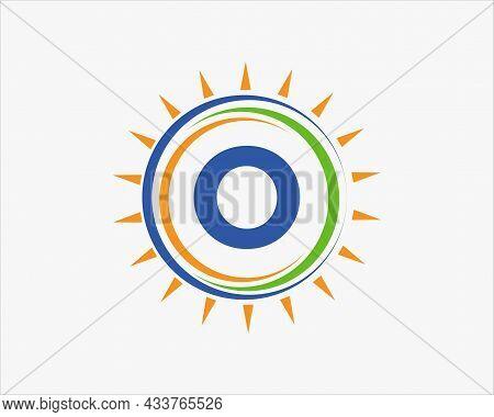 Sun Solar Energy Logo On Letter O Template. O Letter Solar Logo Design. Solar Panel Farm Electric Fa