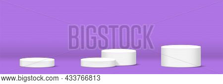 Cylinder Podium For Make-up Product, Podium Display On Purple Pastel For Horizontal Banner Backgroun