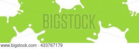Milk Splash On Green For Banner, Milky Splatter For Background, Copy Space, Milk Blob Shape Graphic,
