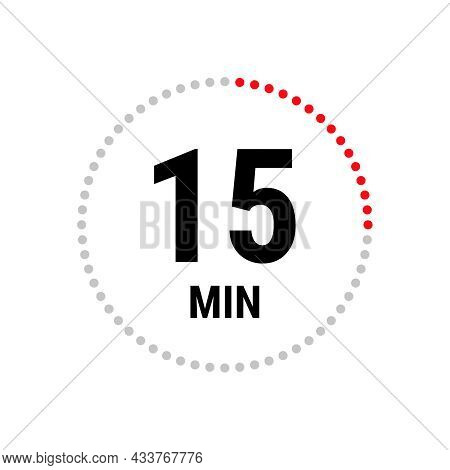 15 Minute Vector Icon, Stopwatch Symbol, Countdown. Isolated Illustration With Timer.