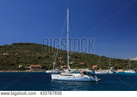 Primosten, Croatia - July 15, 2021: Bavaria Cruiser 51 Yacht Sailing On Adriatic Sea. Bavaria Yachtb