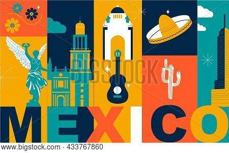 Mexico City Culture Travel Set, Famous Architectures And Specialties In Flat Design. Business Mexica