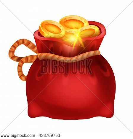 Red Golden Coin Money Bag, Vector Isolated Treasure Sack, Pirate Hidden Rpg Prize, Game Gift Icon. C